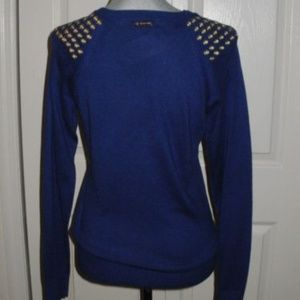 MICHAEL Michael Kors Sweaters - MICHAEL KORS Grommet Shoulder Blue Sweater